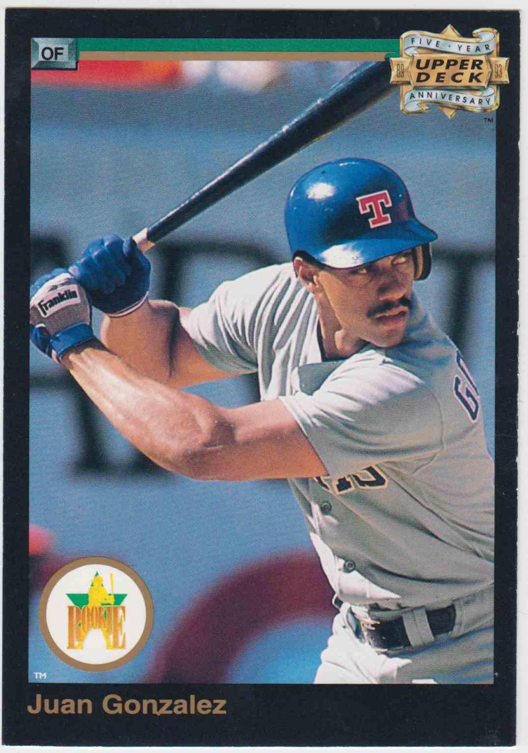 1993 Upper Deck Fifth Anniversary Jumbo Juan Gonzalez A6