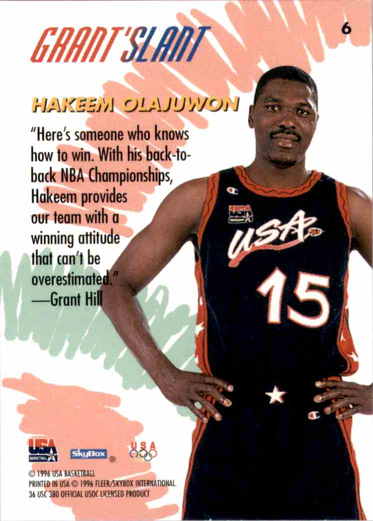 1996-97 SkyBox USA Hakeem Olajuwon Gs #6 card back image