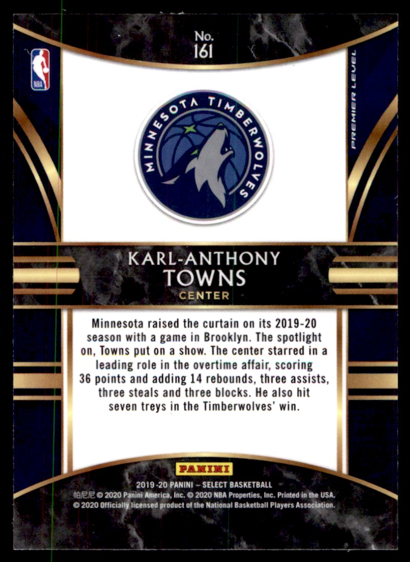 2019-20 Panini Select Karl-Anthony Towns #161 card back image