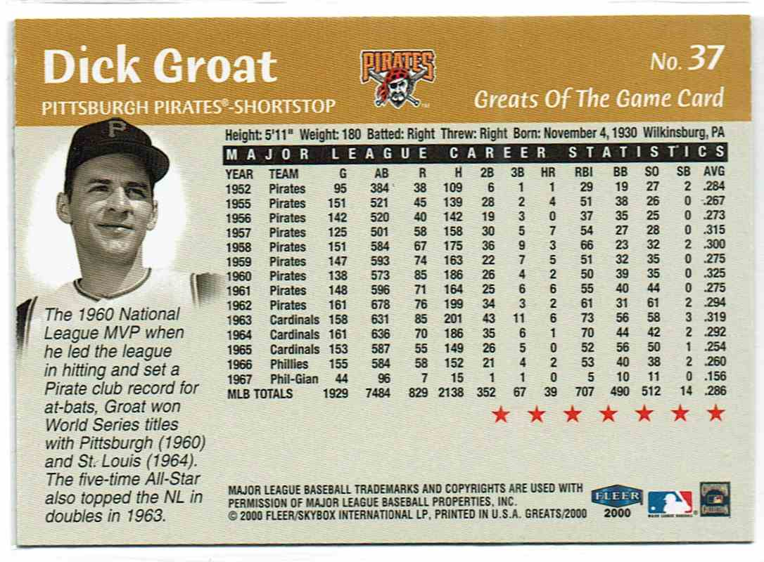 2000 Fleer Greats Of The Game Dick Groat #37 card back image