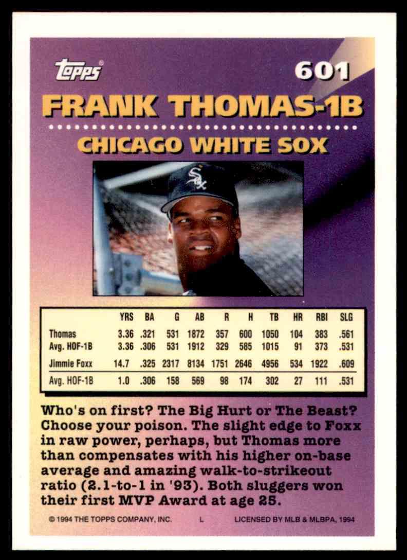 1994 Topps Frank Thomas Mog #601 card back image