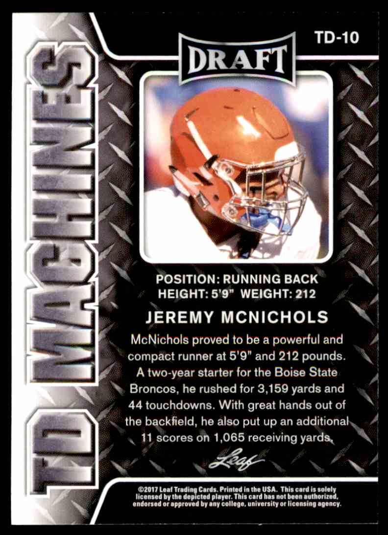 2017 Leaf Draft Jeremy McNichols #TD-10 card back image