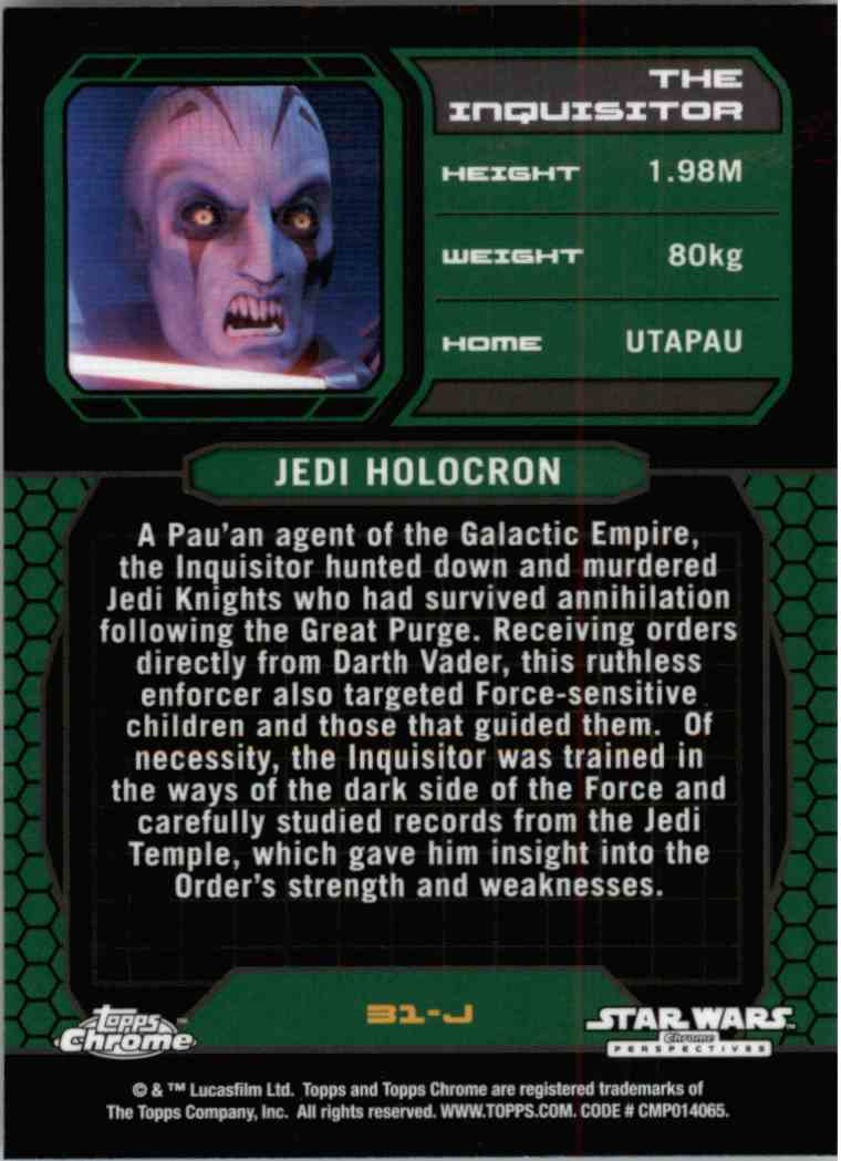2015 Topps Chrome Star Wars Jedi Temple Archives The Inquisitor #31-J card back image