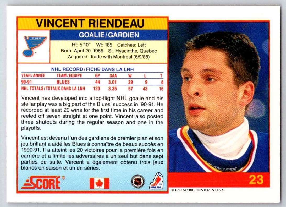 1991-92 Score Canadian Bilingual Vincent Riendeau #23 card back image