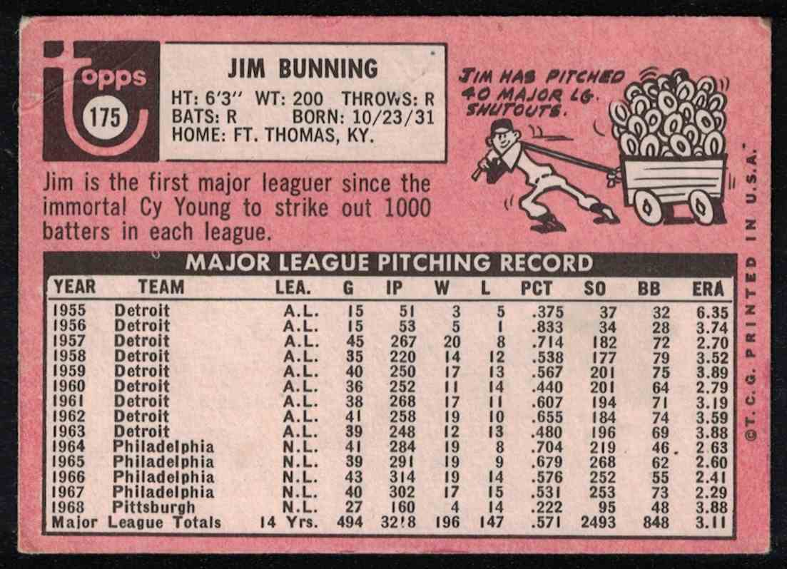 1969 Topps Jim Bunning VG crease #175 card back image
