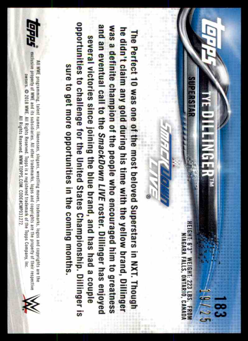 2018 Topps Wwe Then Now Forever Silver Tye Dillinger card back image