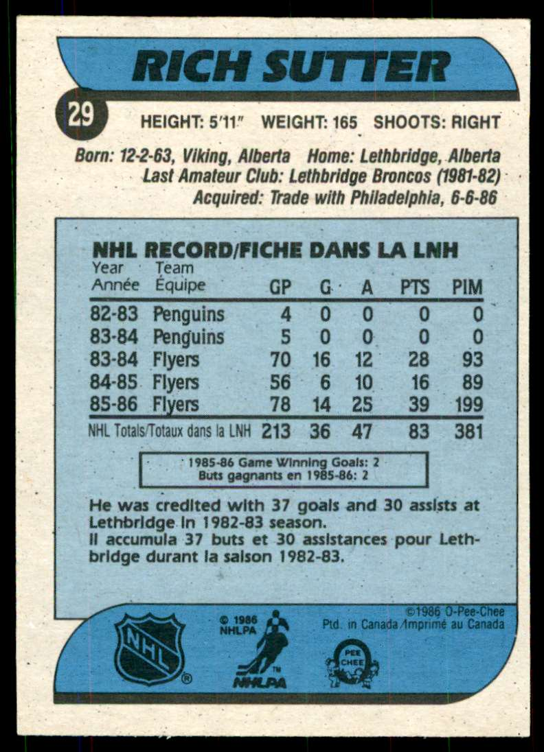 1986-87 OPC Rich Sutter #29 card back image