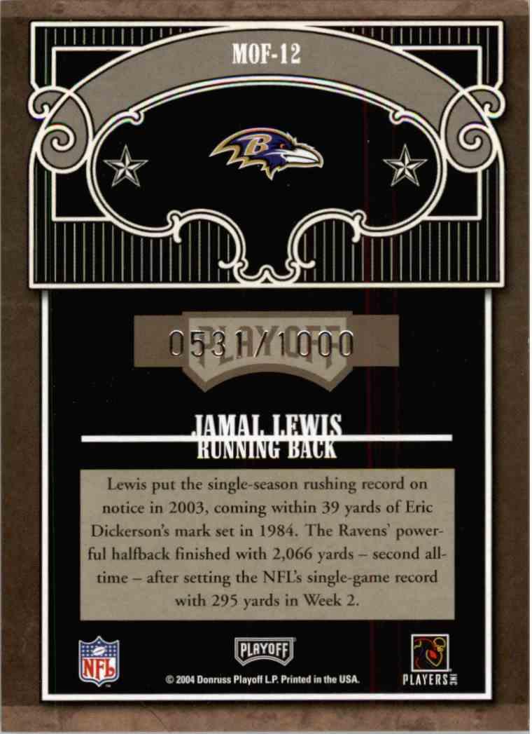 2004 Absolute Memorabilia Jamal Lewis #MOF-12 card back image