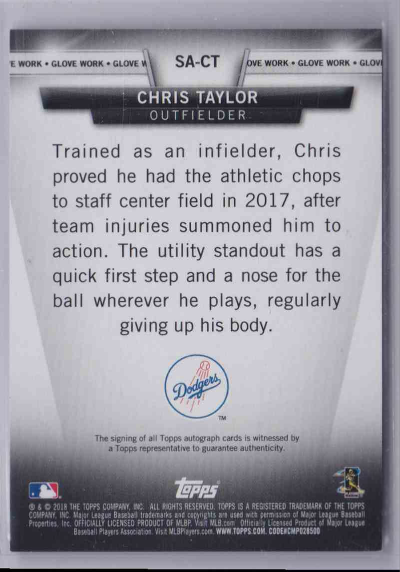 2018 Topps Salute Autograph Chris Taylor #SA-CT card back image