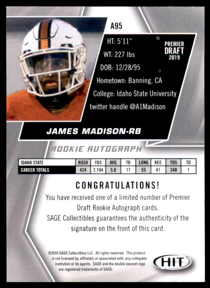 2019 Sage Hit Autographs Black James Madison #A95 card back image