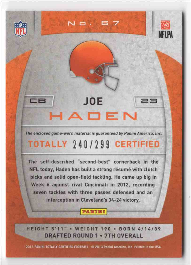2013 Totally Certified Red Materials Joe Haden #67 card back image