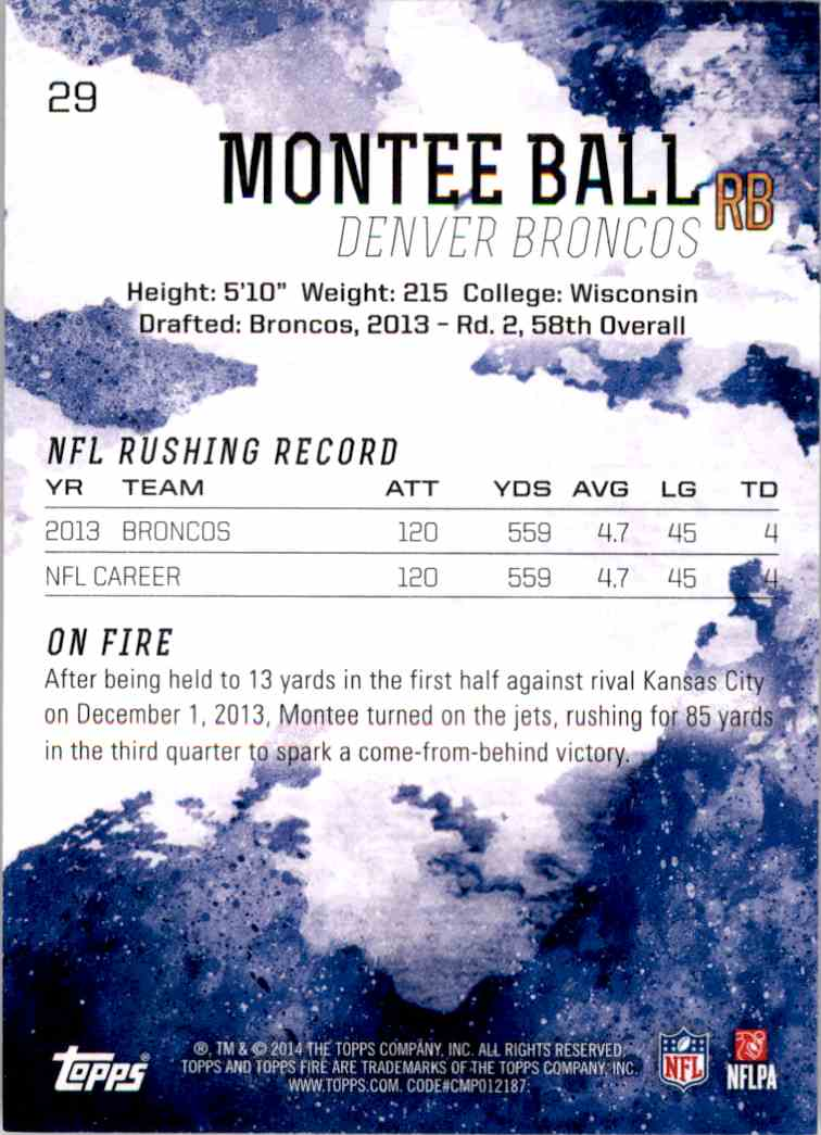 2014 Topps Fire Purple Montee Ball #29 card back image