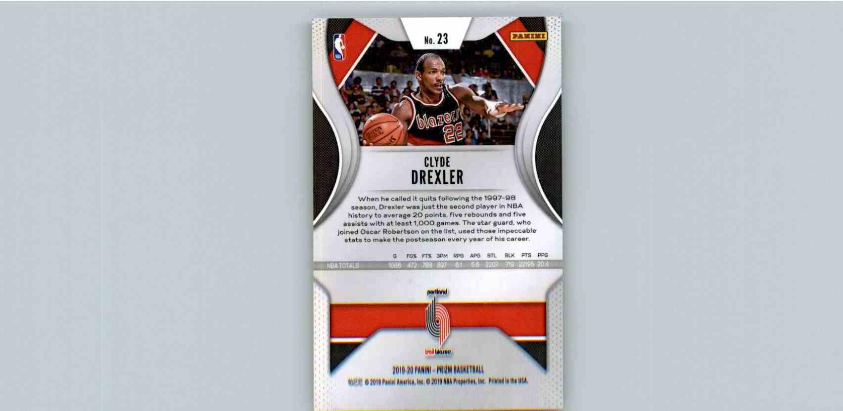 2019-20 Panini Prizm Basketball Prizm Clyde Drexler #23 card front image
