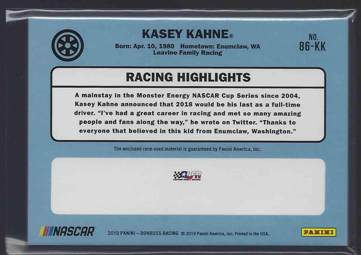 2019 Donruss Retro Relics '86 Kasey Kahne #86-KK card back image