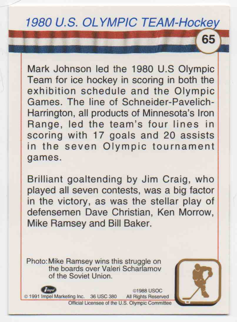 1991 Impel U.S. Olympic Hall Of Fame Mike Ramsey #65 card back image