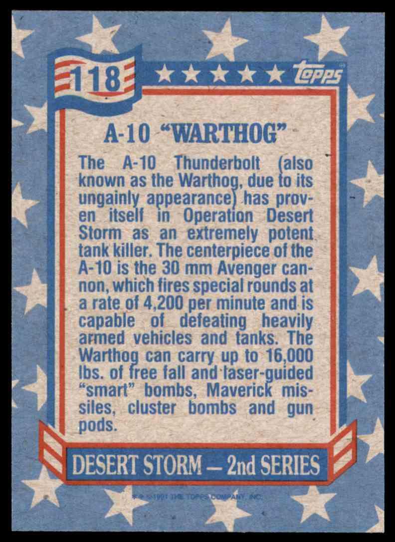 1991 Desert Storm Topps A-10 Warthog #118 card back image