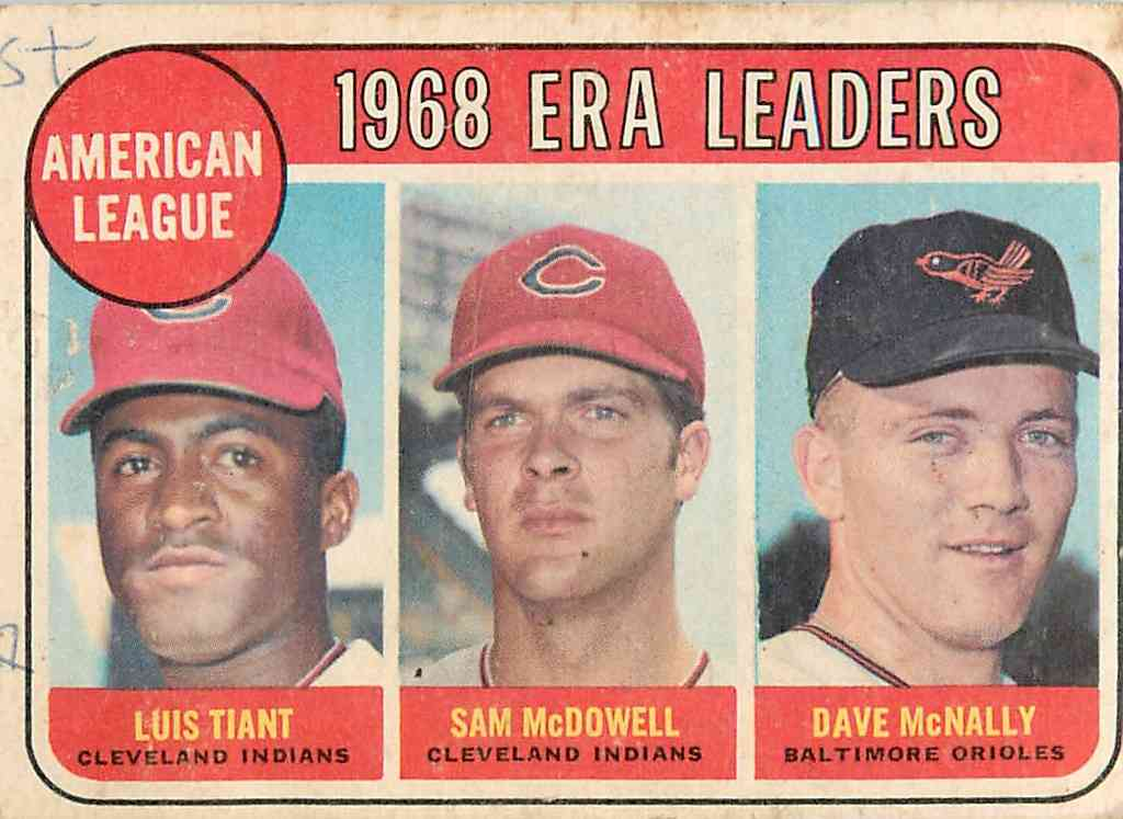 1968 Topps Luis Tiant, Sam Mcdowell, Dave Mcnally #7 card front image