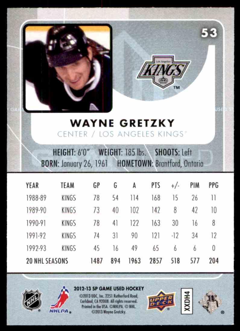 2012-13 SP Gamed Used Wayne Gretzky #53 card back image