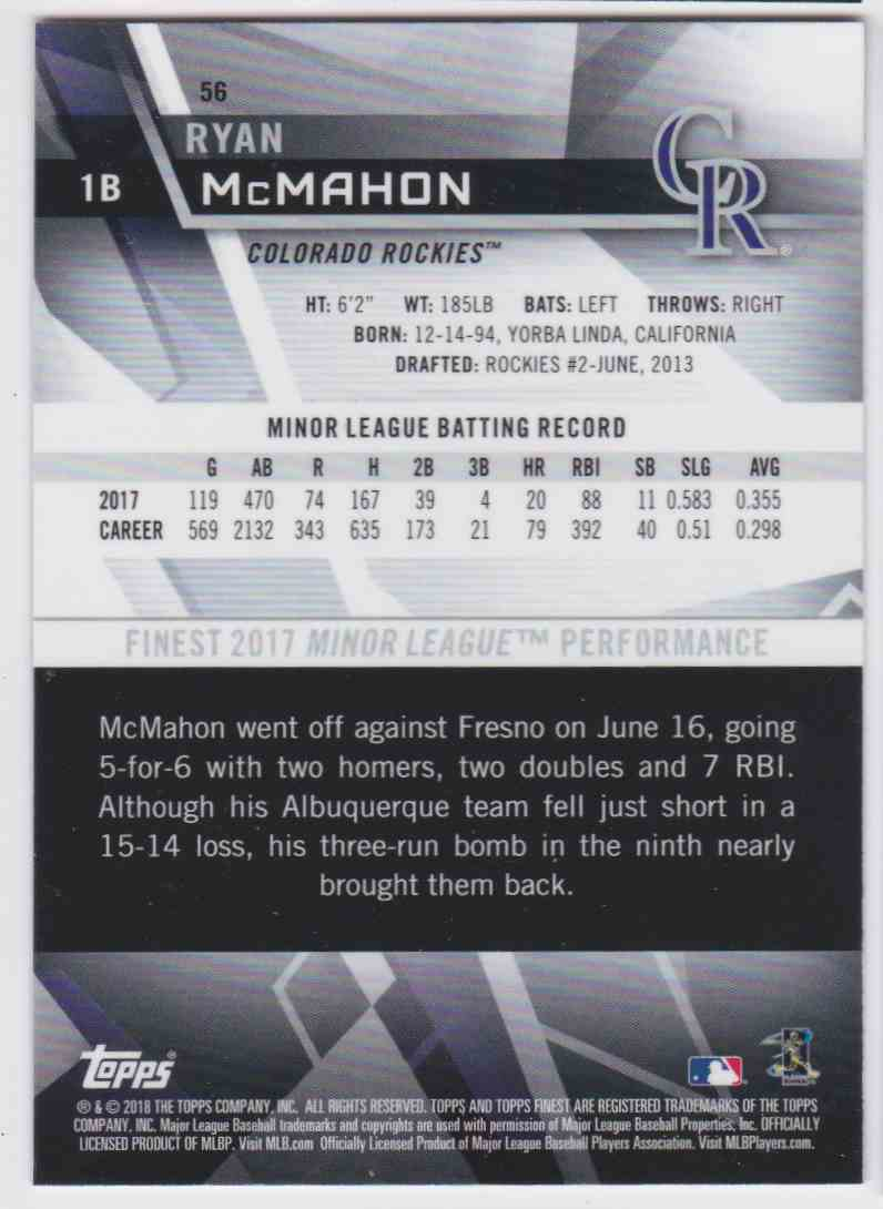2018 Topps Finest Ryan Mcmahon #56 card back image