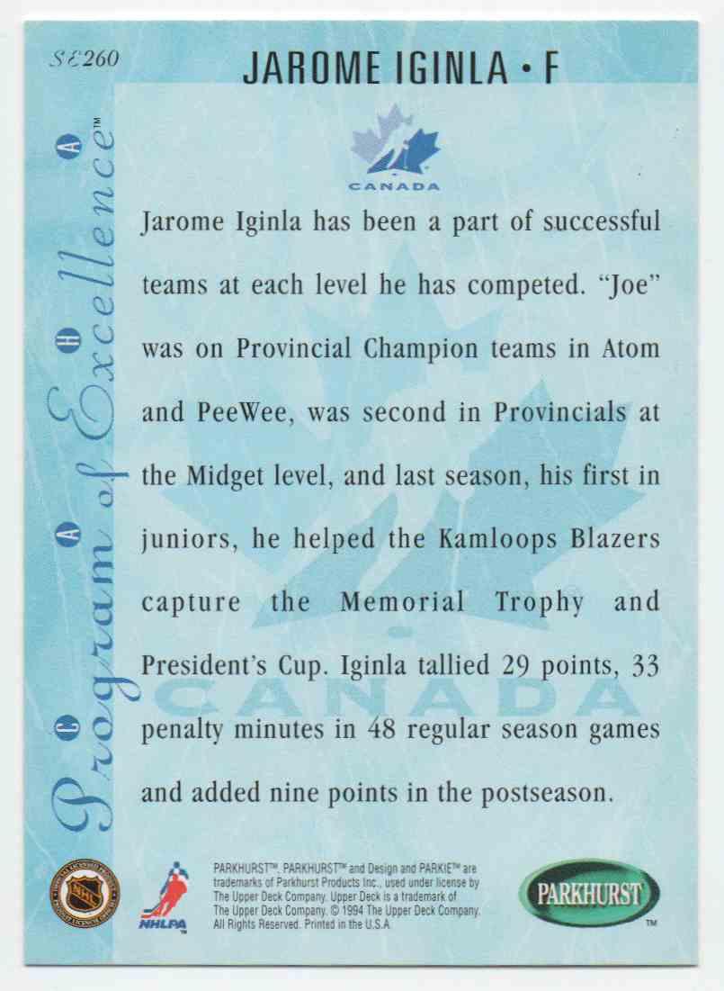 1994-95 Parkhurst Se Jarome Iginla #SE260 card back image