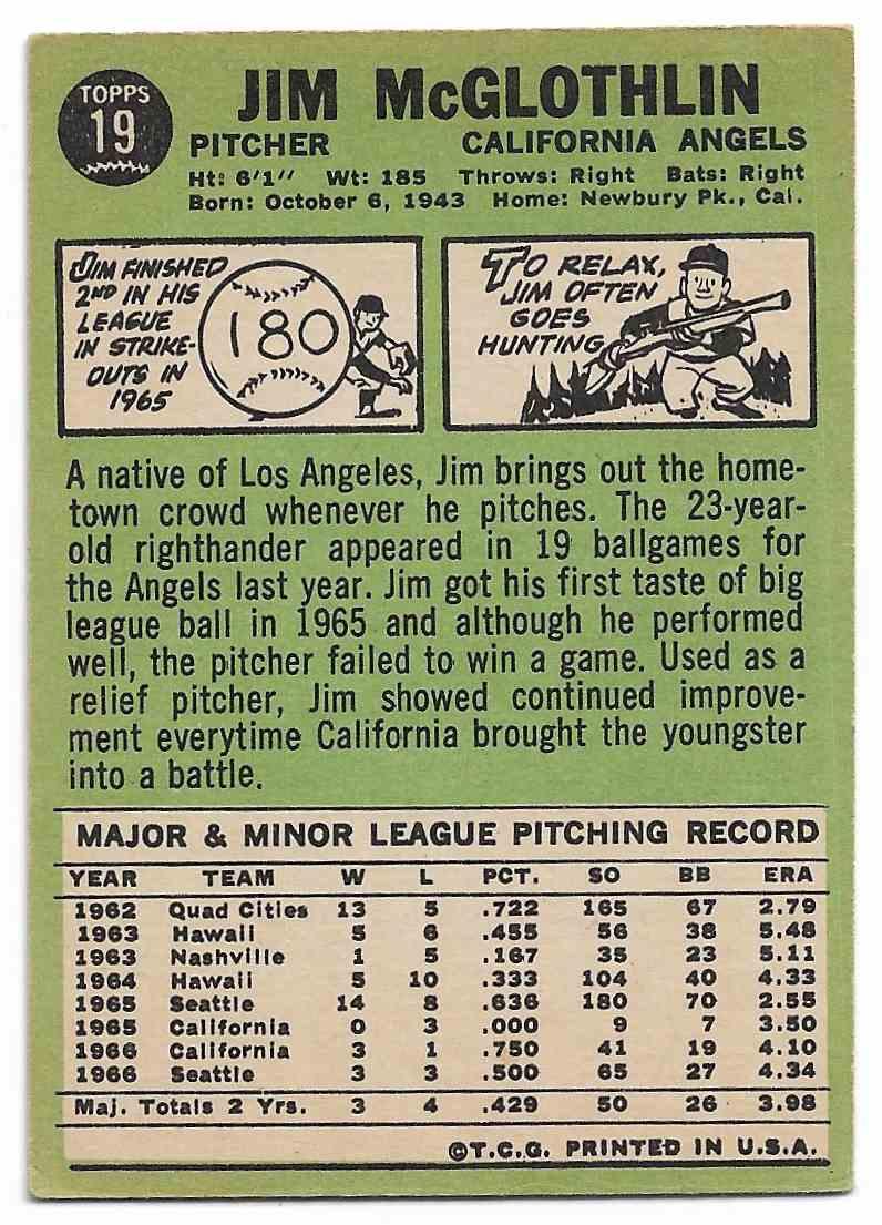 1967 Topps Jim McGlothlin #19 card back image
