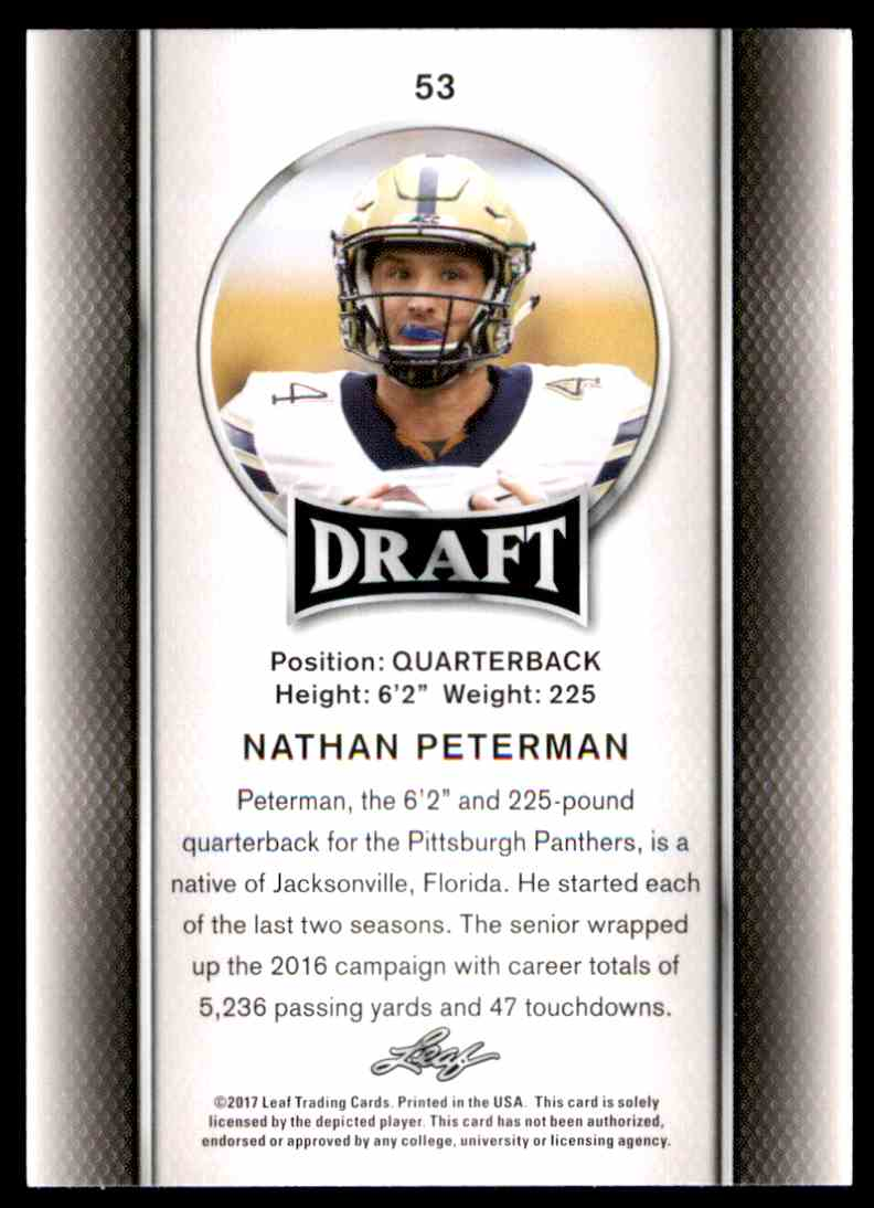 2017 Leaf Draft Nathan Peterman #53 card back image