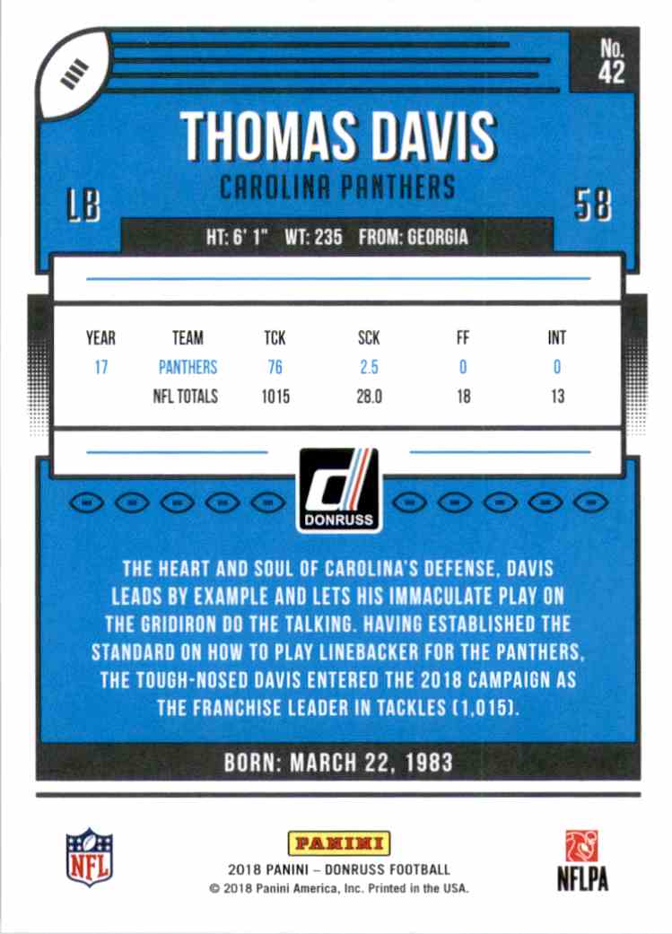 2018 Donruss Thomas Davis #42 card back image