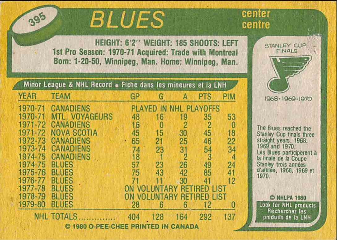 1980-81 O-Pee-Chee Chuck Lefley #395 card back image