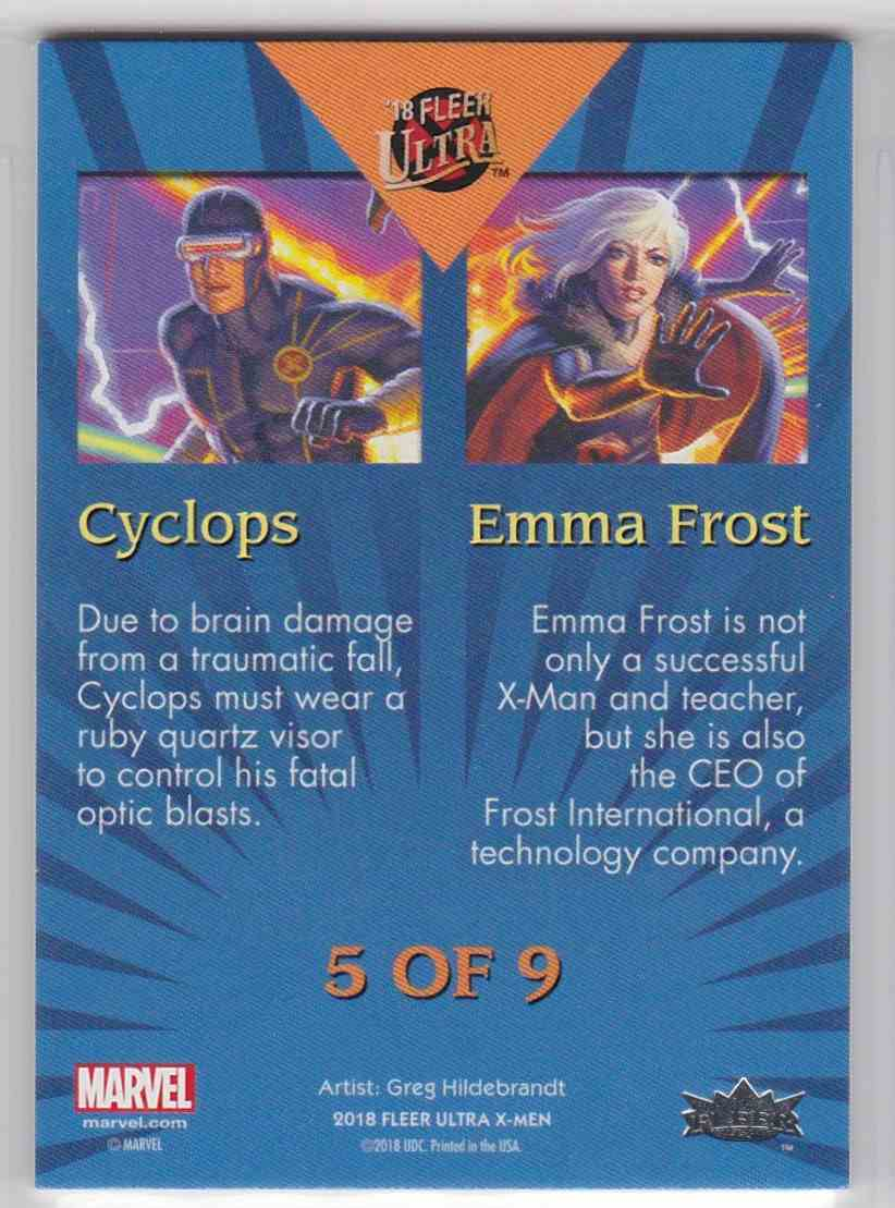 2018 Fleer Ultra X-Men Connected Image Cyclops Emma Frost card back image
