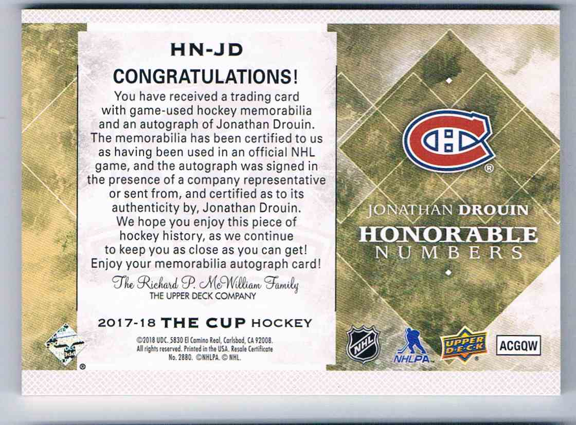 2017-18 The Cup Honorable Numbers Jonathan Drouin #NH-JD card back image