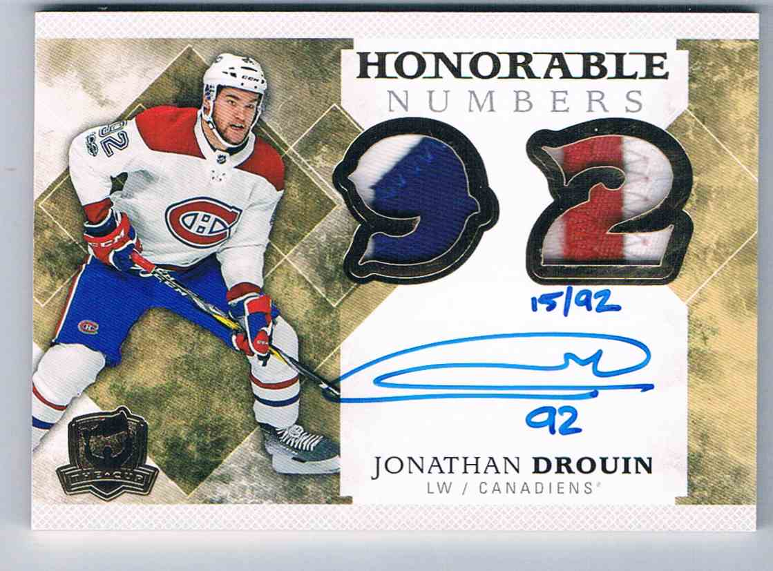 2017-18 The Cup Honorable Numbers Jonathan Drouin #NH-JD card front image