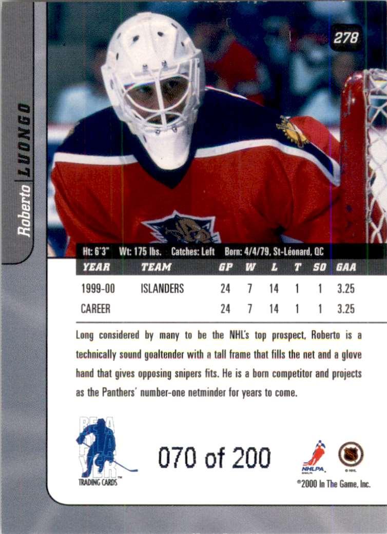 2000-01 Bap Signature Series Ruby Roberto Luongo #278 card back image