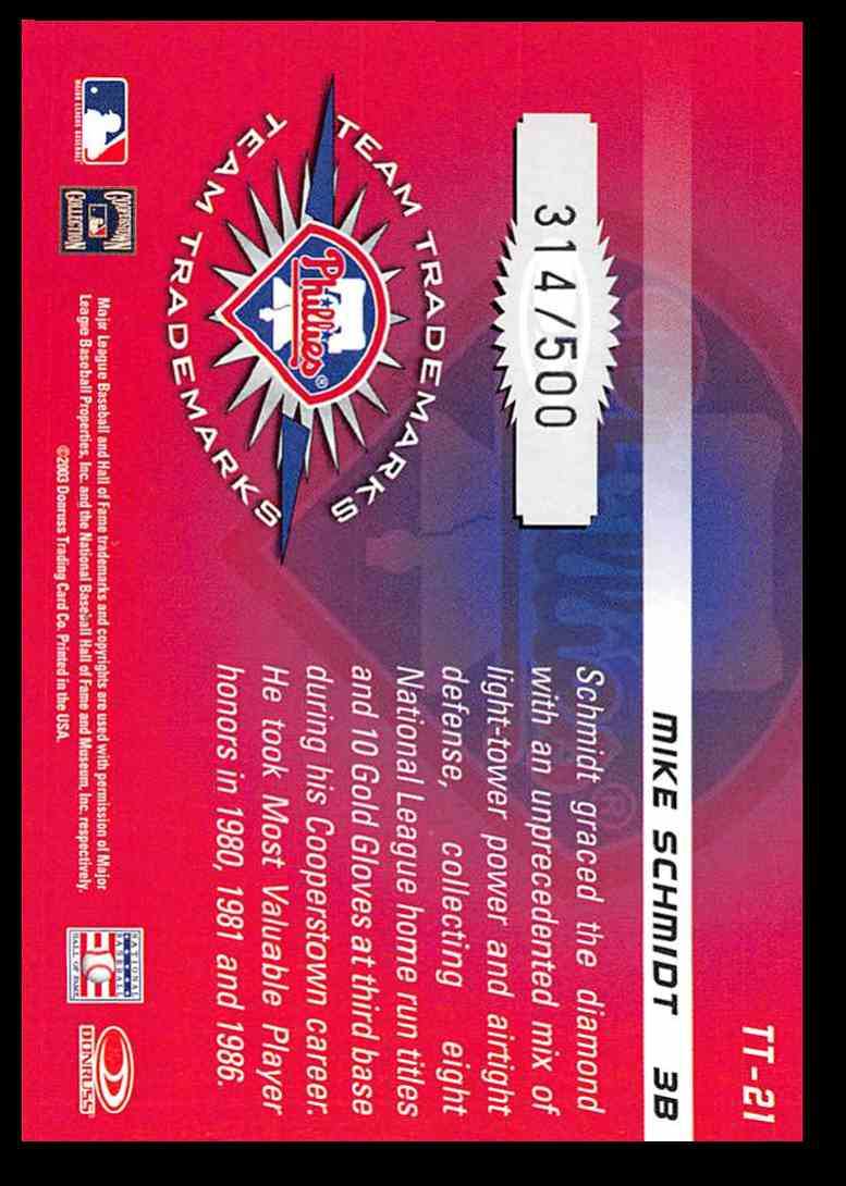 2003 Donruss Signature Team Trademarks Mike Schmidt #21 card back image