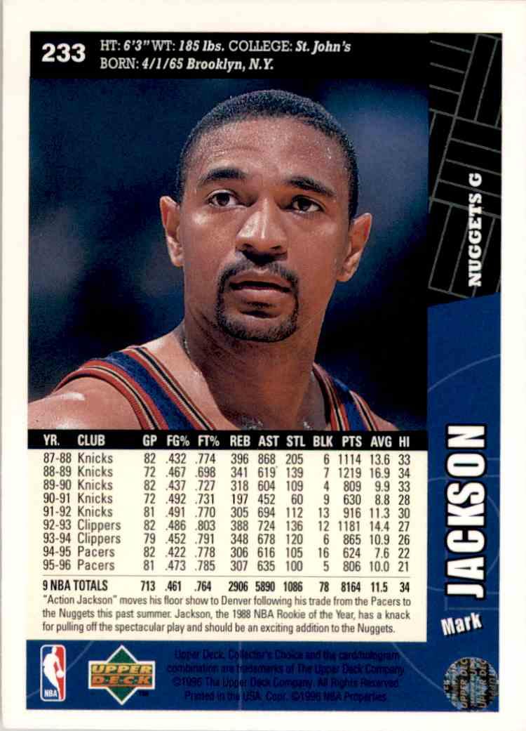 1996-97 Collector's Choice Mark Jackson #233 card back image