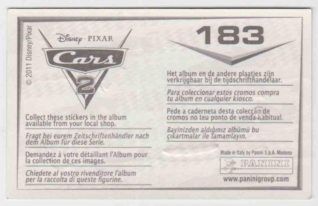 2011 Panini Disney Pixar Stickers Cars 2 Foil #183 card back image