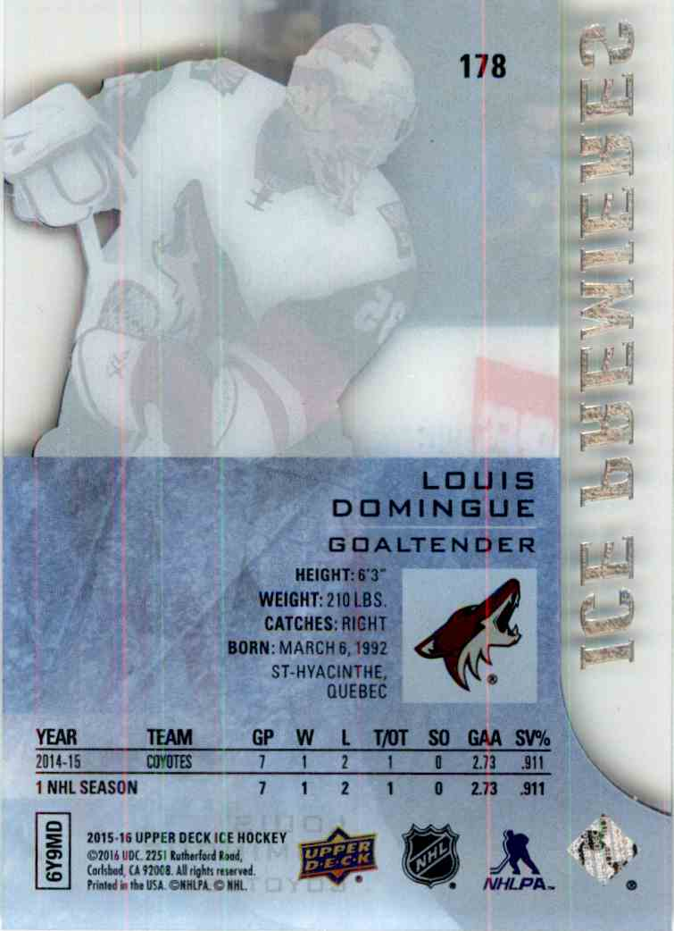 2015-16 Upper Deck Ice Ice Premieres Louis Domingue #178 card back image