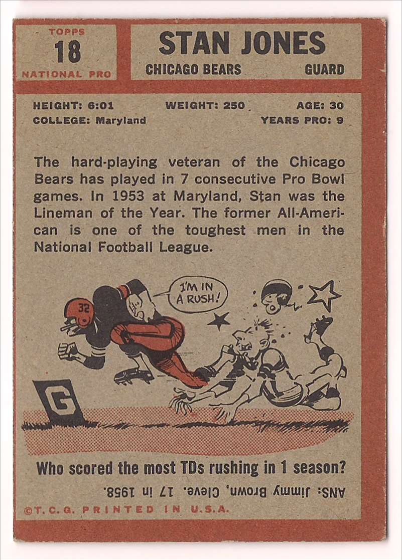 1962 Topps Stan Jones #18 card back image