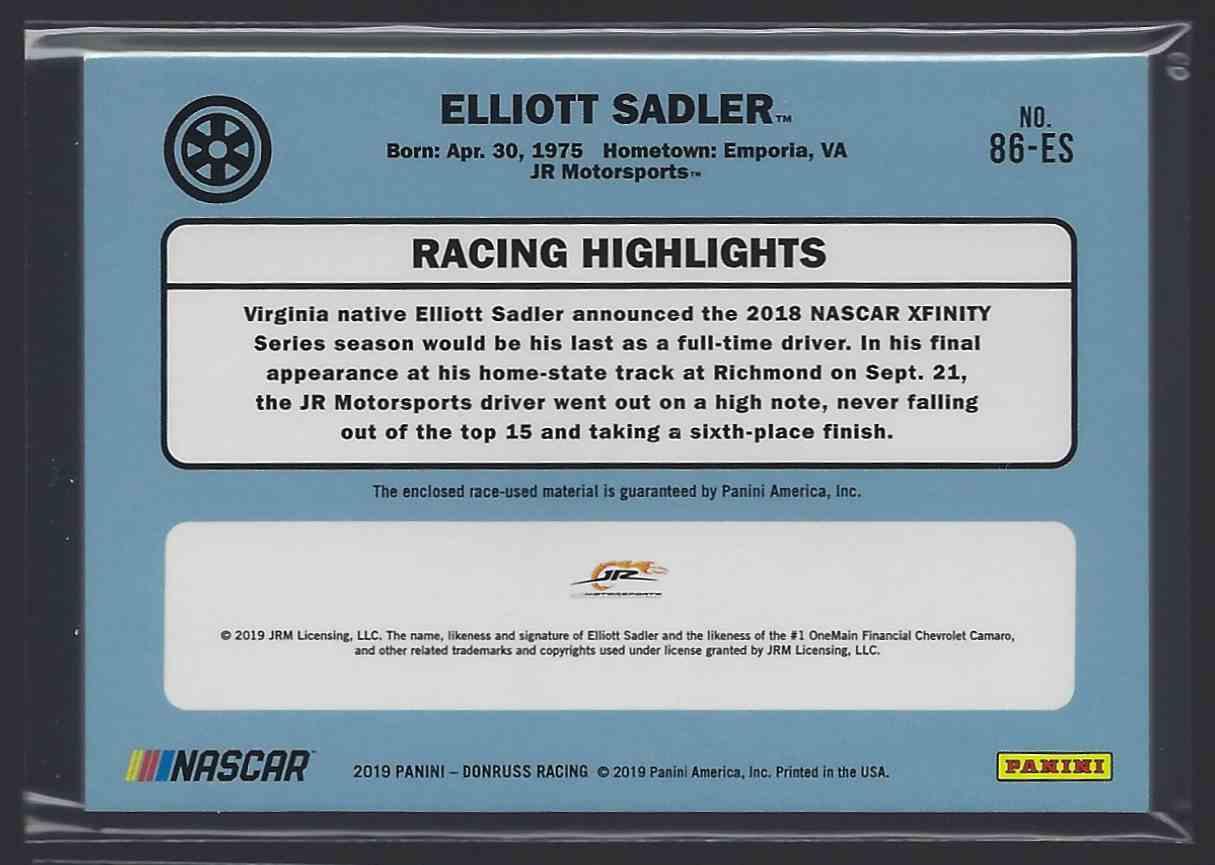 2019 Donruss Retro Relics '86 Elliott Sadler #86-ES card back image