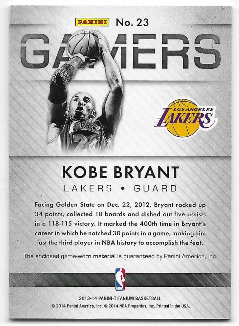 2013-14 Panini Titanium Gamers Kobe Bryant #23 card back image