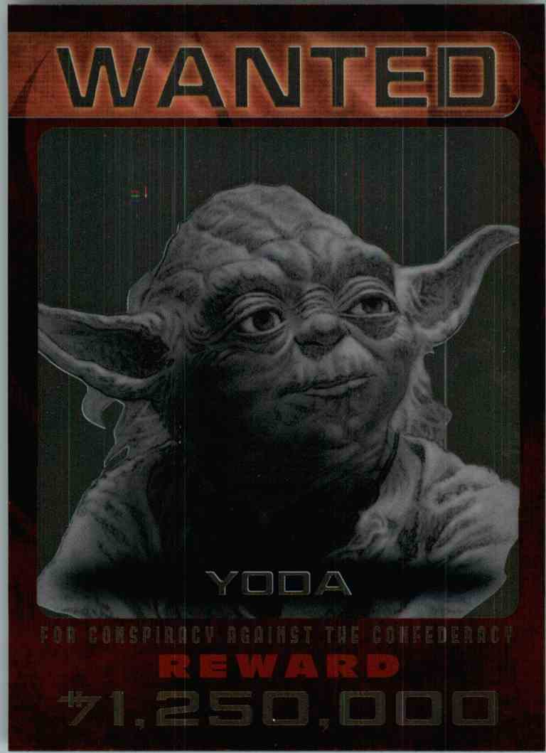 2015 Topps Chrome Star Wars Wanted Yoda #1 card front image
