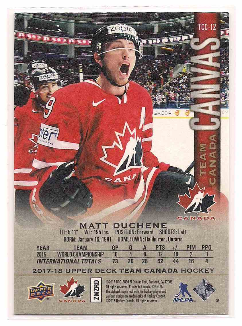 2017-18 Upper Deck Team Canada Canvas Matt Duchene #TCC-12 card back image