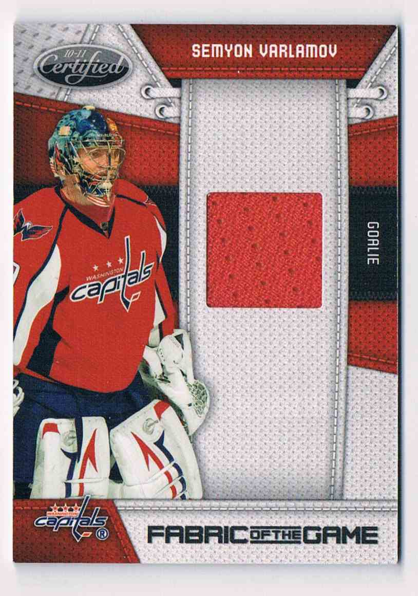 2010-11 Panini Certified Fabric Of The Game Semyon Varlamov #SV card front image