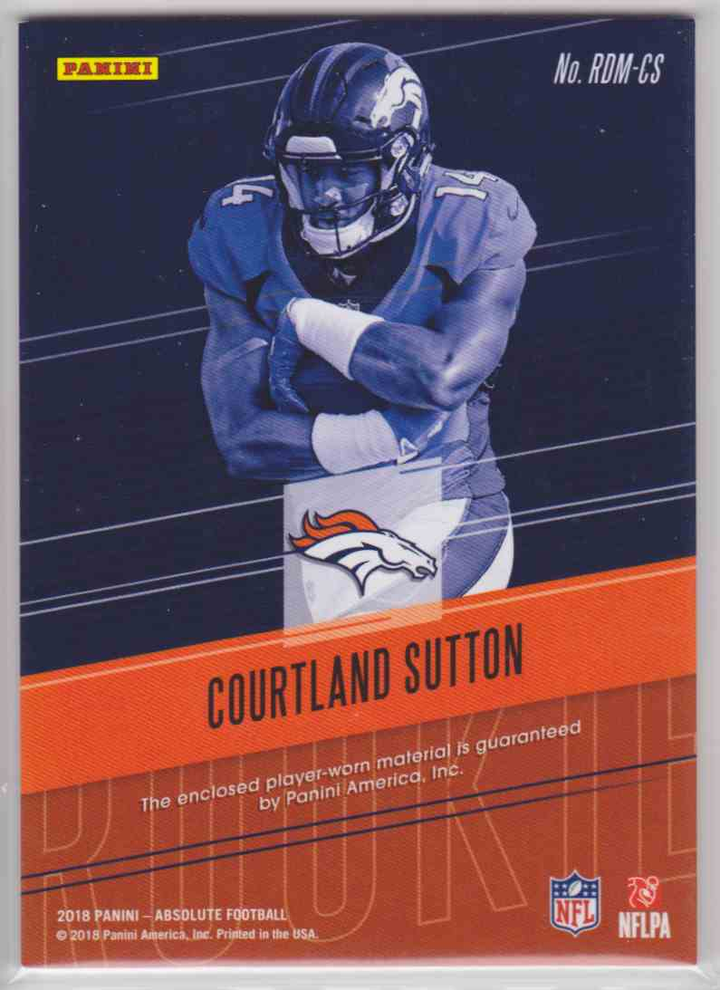 2018 Absolute Rookie Dual Memorabilia Courtland Sutton #RDM-CS card back image