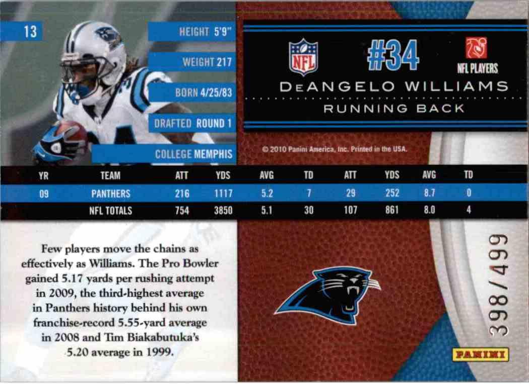 2010 Leaf Limited Deangelo Williams #13 card back image