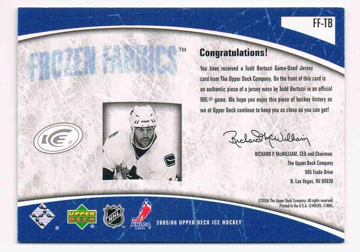 2005-06 Upper Deck Ice Frozen Fabrics Todd Bertuzzi #FF-TB card back image