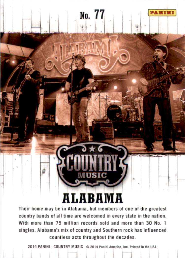2015 Country Music Purple Alabama #77 card back image