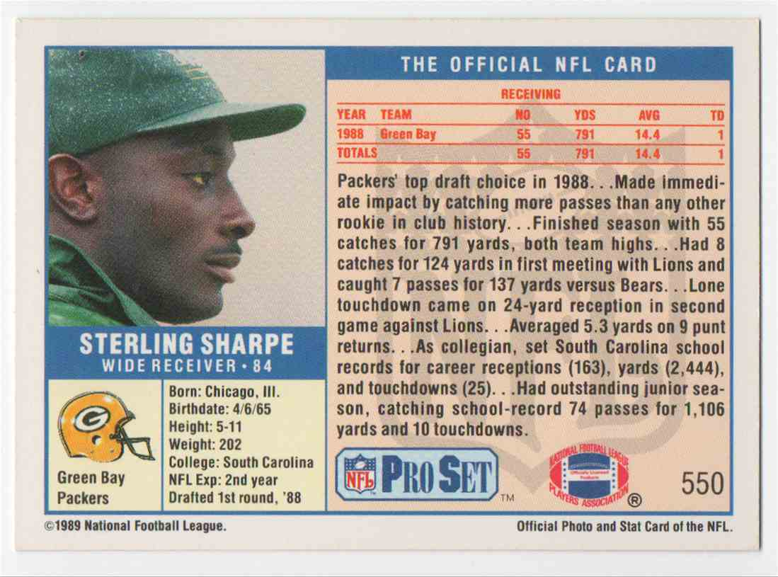 1989 Pro Set Sterling Sharpe #550 card back image