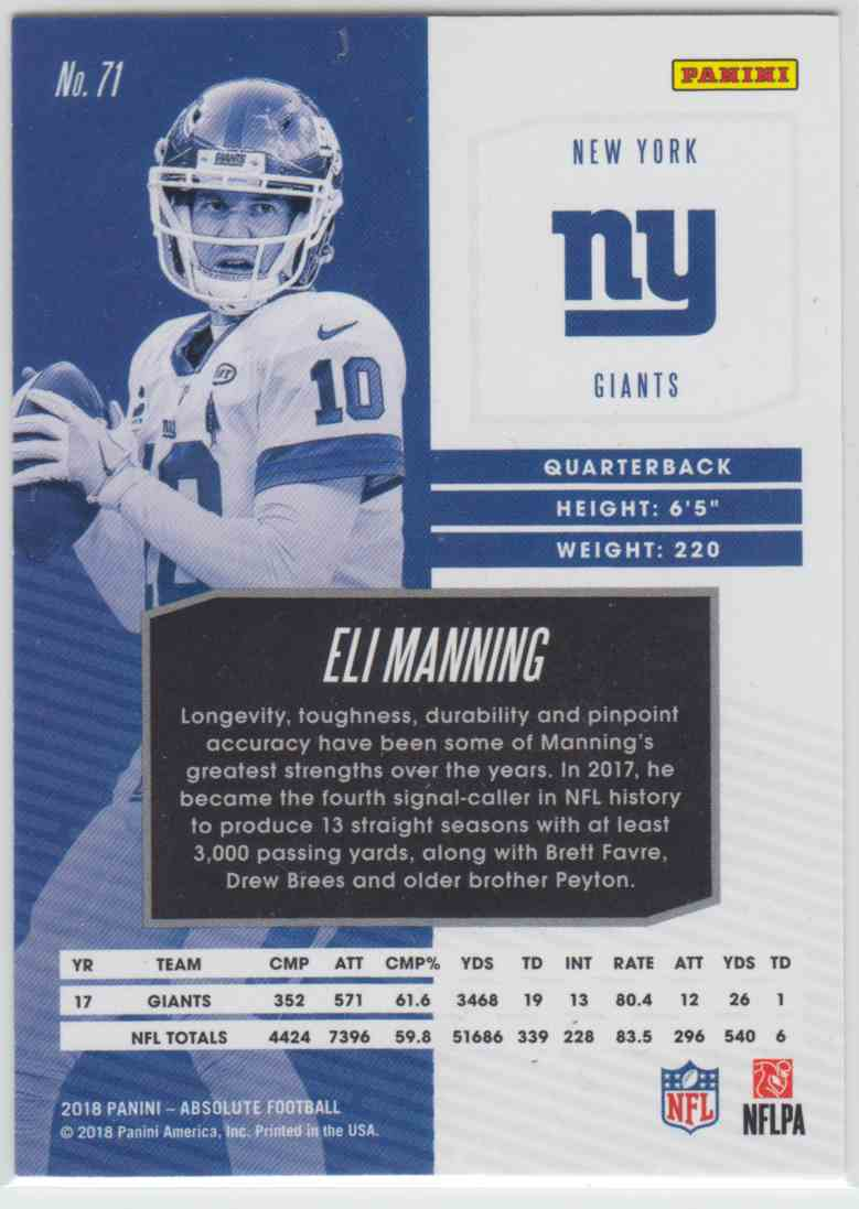2018 Panini Absolute Spectrum Red Eli Manning #71 card back image