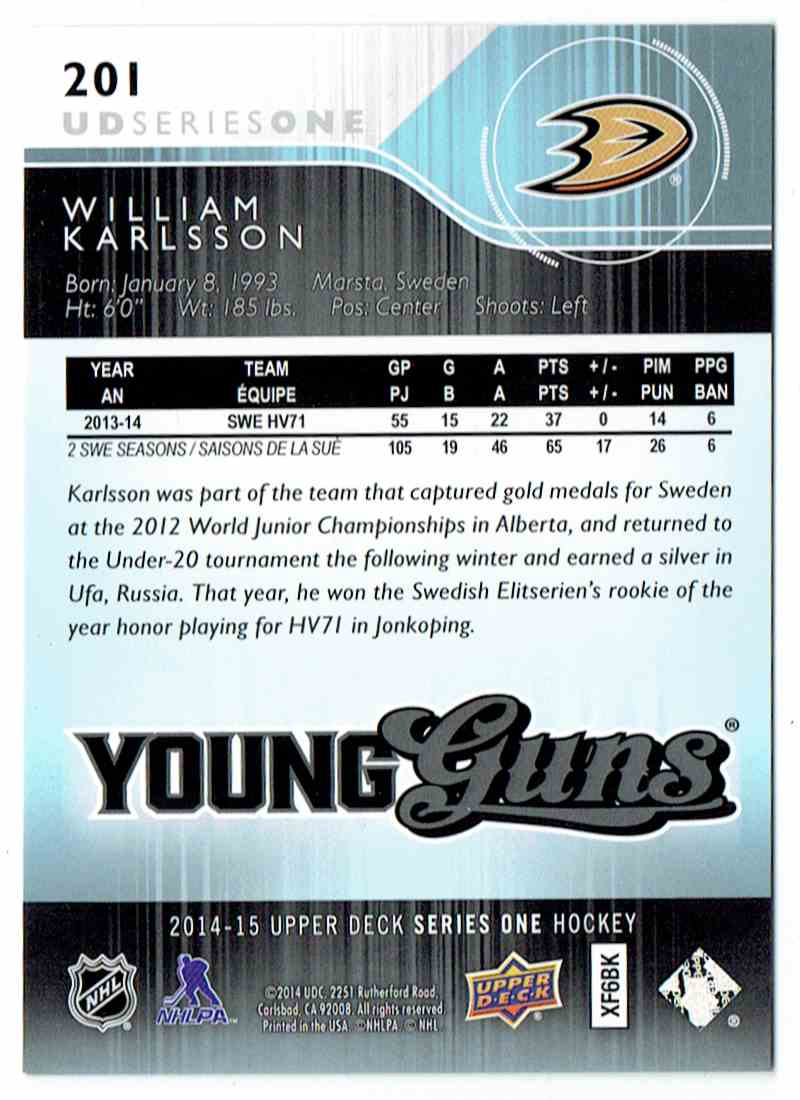 2014-15 Upper Deck UD Exclusives Young Guns William Karlsson #201 card back image