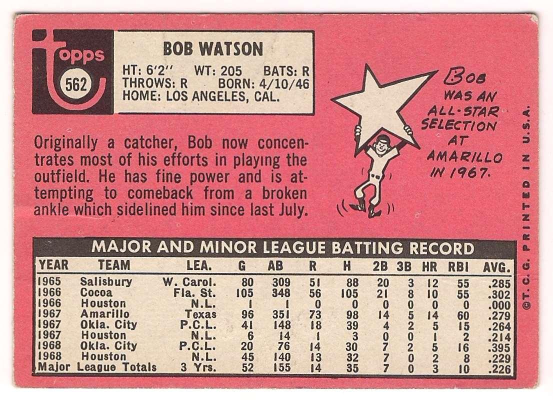 1969 Topps Bob Watson #562 card back image